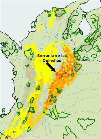Colombia Map - Serrania de las Quinchas with topological features