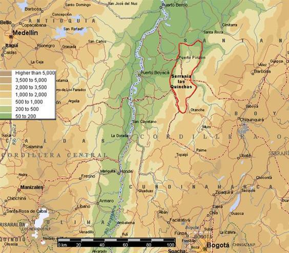 Colombia Map - Medellin east to Serranía de las Quinchas
