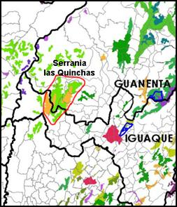 Map - Habitat remaining across central Colombia