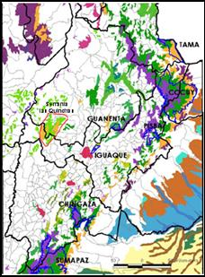Map - Habitat remaining in the humid Magdalena Valley, Colombia