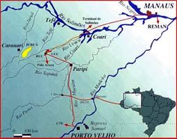 Route of Proposed Mapaurucu - Porto Velho pipeline - Ecologia em Notícias