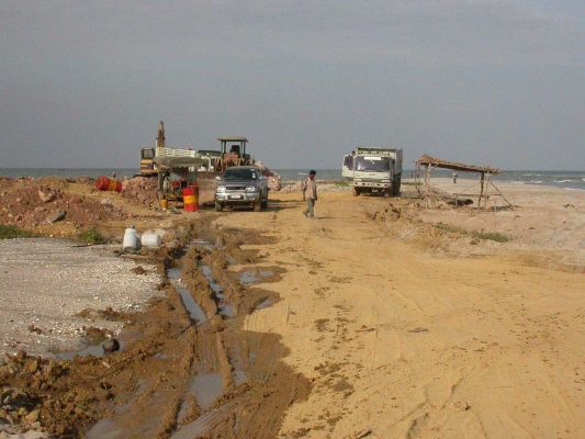 Destruction of Laem Phak Bia sandspit