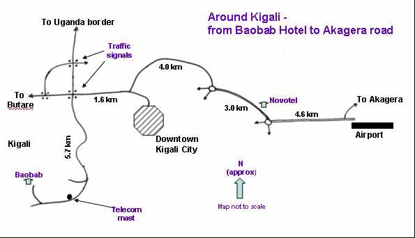 Around Kigali from Baobab Hotel to Akagera Road